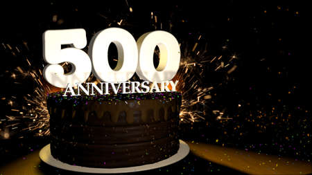 Anniversary 500 card. Round chocolate cake decorated with dragees of blue, red, yellow, green color with white numbers on a wooden table with artificial fire in the background and stars and colored dragees falling on the table. 3D Illustration