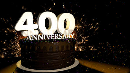 Anniversary 400 card. Round chocolate cake decorated with dragees of blue, red, yellow, green color with white numbers on a wooden table with artificial fire in the background and stars and colored dragees falling on the table. 3D Illustration