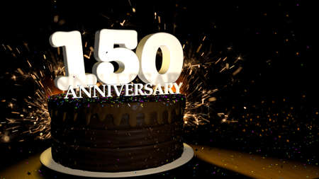 Anniversary 150 card. Round chocolate cake decorated with dragees of blue, red, yellow, green color with white numbers on a wooden table with artificial fire in the background and stars and colored dragees falling on the table. 3D Illustration Stock Photo