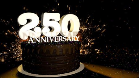 Anniversary 250 card. Round chocolate cake decorated with dragees of blue, red, yellow, green color with white numbers on a wooden table with artificial fire in the background and stars and colored dragees falling on the table. 3D Illustration