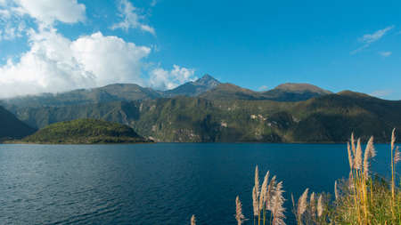 View of the Cotacachi volcano from the edge of the Cuicocha lagoon. Imbabura - Ecuador