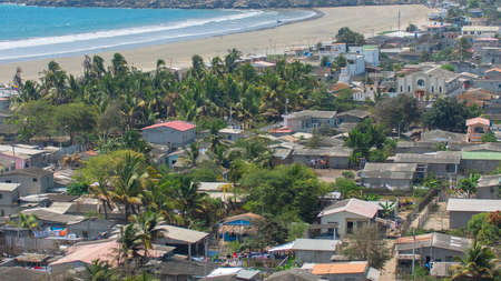 Panoramic view of the small town Palmar by the sea in the province of Santa Elena on the coast of Ecuador Stock Photo