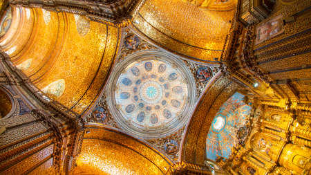 Quito, Pichincha / Ecuador - November 1 2019: View from below of the main dome of the Church of the Society of Jesus, known colloquially as la Compania, is a Jesuit church