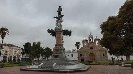 Riobamba, Chimborazo / Ecuador - February 10 2019: People walking through Maldonado park with the Cathedral Church in the background Editorial