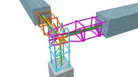 Graph shows the correct way to interlace the steel rods of columns and concrete beams on white background. 3D Illustration Archivio Fotografico