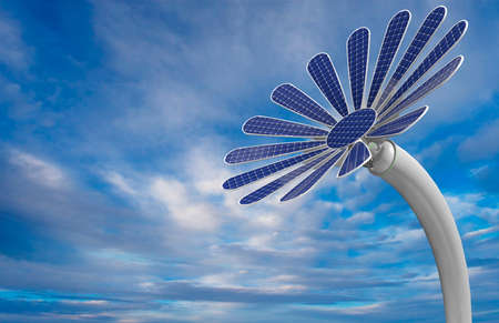 Close-up to a blue colored flower shaped solar panel with petals and long white stem with blue sky background. 3D Illustration
