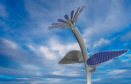 Close-up to a blue colored flower shaped solar panel with white petals, leaves and long stem with blue sky background. 3D Illustration