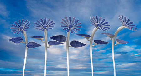 Front view of 5 blue solar panels in the shape of a flower with petals, leaves and long white stem with blue sky background. 3D Illustration
