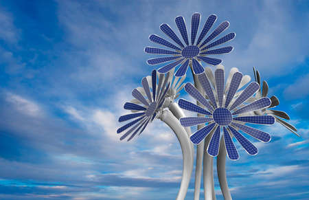 Group of 5 blue flower shaped solar panels with petals and long white stem with blue sky background. 3D Illustration Stock Photo