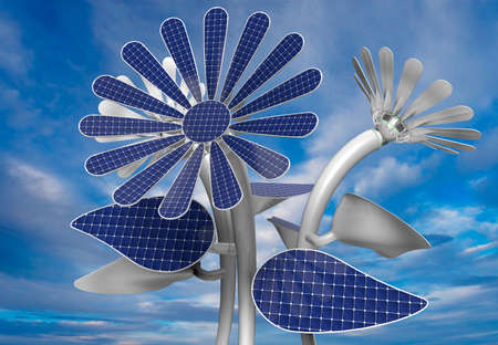 Group of 3 blue solar panels in flower shape with white petals, leaves and long stem with blue sky background. 3D Illustration