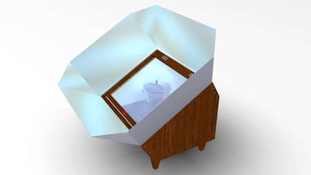 Box solar cooker with open glass lid and metal reflectors with two pots inside on white background. 3D Illustration Imagens
