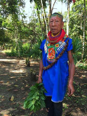 Nueva Loja, Sucumbios / Ecuador - September 2 2020: Elderly indigenous shaman of Cofan nationality walking head-on through the jungle in the Amazon