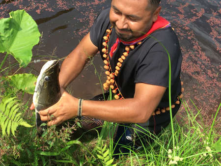 Nueva Loja, Sucumbios / Ecuador - September 2 2020: Young indigenous woman of Cofan nationality pulling a large fish out of the river with her hands in the middle of the Amazon jungle Editorial