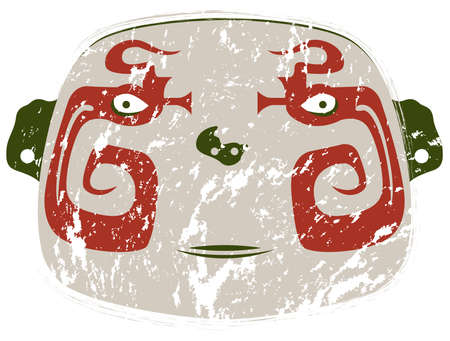 Oval fat abstract face with tribal style in red and green color with worn paint look on white background