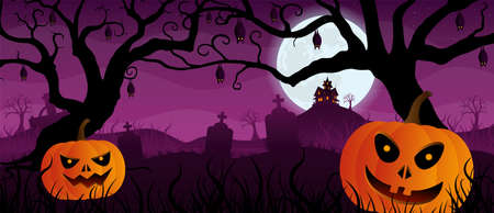 Landscape with face pumpkins in a graveyard with graves and bats hanging from the trees in silhouette with a house on top of a mountain with purple night sky. Vector image