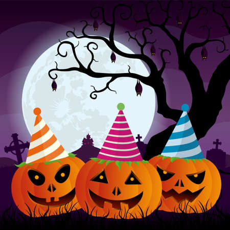 Three pumpkins with party hats in a graveyard with crosses and bats hanging from a tree with a house on the mountain in the background in front of a large moon with purple sky. Vector image Ilustração