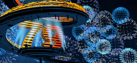 Number 79 formed by a yellow structure on a round metal platform illuminated by 8 reflectors surrounded by a metal spiral structure with a background of blue fireworks in the night sky. 3D Illustration