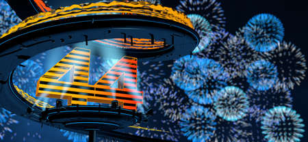 Number 44 formed by a yellow structure on a round metal platform illuminated by 8 reflectors surrounded by a metal spiral structure with a background of blue fireworks in the night sky. 3D Illustration