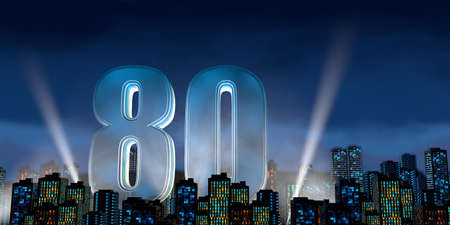 Number 80 in thick blue font lit from below with white light reflectors floating in the middle of a city center with tall buildings with blue lights on at night with cloudy sky. 3D Illustration