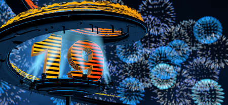 Number 19 formed by a yellow structure on a round metal platform illuminated by 8 reflectors surrounded by a metal spiral structure with a background of blue fireworks in the night sky. 3D Illustration Stock fotó