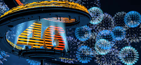 Number 46 formed by a yellow structure on a round metal platform illuminated by 8 reflectors surrounded by a metal spiral structure with a background of blue fireworks in the night sky. 3D Illustration