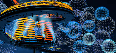 Number 83 formed by a yellow structure on a round metal platform illuminated by 8 reflectors surrounded by a metal spiral structure with a background of blue fireworks in the night sky. 3D Illustration Stock fotó