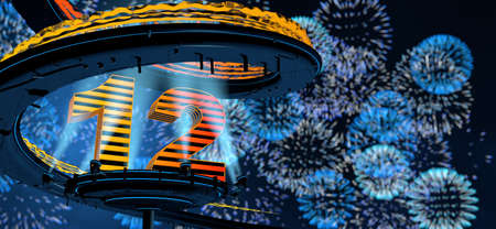 Number 12 formed by a yellow structure on a round metal platform illuminated by 8 reflectors surrounded by a metal spiral structure with a background of blue fireworks in the night sky. 3D Illustration Stock fotó