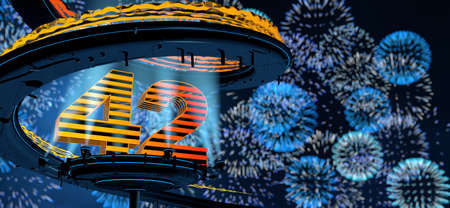 Number 42 formed by a yellow structure on a round metal platform illuminated by 8 reflectors surrounded by a metal spiral structure with a background of blue fireworks in the night sky. 3D Illustration Stock fotó