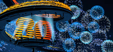 Number 80 formed by a yellow structure on a round metal platform illuminated by 8 reflectors surrounded by a metal spiral structure with a background of blue fireworks in the night sky. 3D Illustration