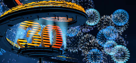 Number 30 formed by a yellow structure on a round metal platform illuminated by 8 reflectors surrounded by a metal spiral structure with a background of blue fireworks in the night sky. 3D Illustration