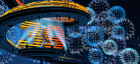 Number 39 formed by a yellow structure on a round metal platform illuminated by 8 reflectors surrounded by a metal spiral structure with a background of blue fireworks in the night sky. 3D Illustration Stock fotó