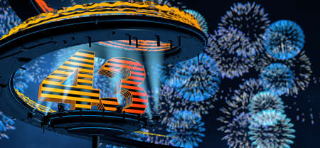 Number 43 formed by a yellow structure on a round metal platform illuminated by 8 reflectors surrounded by a metal spiral structure with a background of blue fireworks in the night sky. 3D Illustration