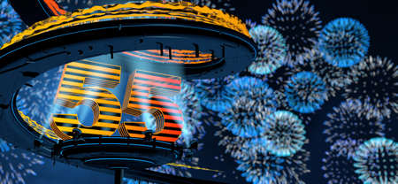 Number 55 formed by a yellow structure on a round metal platform illuminated by 8 reflectors surrounded by a metal spiral structure with a background of blue fireworks in the night sky. 3D Illustration Stock fotó