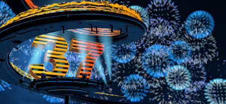 Number 37 formed by a yellow structure on a round metal platform illuminated by 8 reflectors surrounded by a metal spiral structure with a background of blue fireworks in the night sky. 3D Illustration