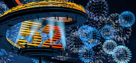 Number 52 formed by a yellow structure on a round metal platform illuminated by 8 reflectors surrounded by a metal spiral structure with a background of blue fireworks in the night sky. 3D Illustration