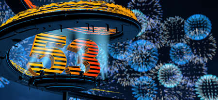 Number 53 formed by a yellow structure on a round metal platform illuminated by 8 reflectors surrounded by a metal spiral structure with a background of blue fireworks in the night sky. 3D Illustration Stock Photo
