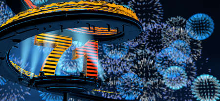 Number 71 formed by a yellow structure on a round metal platform illuminated by 8 reflectors surrounded by a metal spiral structure with a background of blue fireworks in the night sky. 3D Illustration