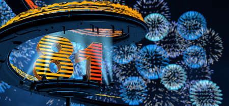 Number 81 formed by a yellow structure on a round metal platform illuminated by 8 reflectors surrounded by a metal spiral structure with a background of blue fireworks in the night sky. 3D Illustration Stock Photo