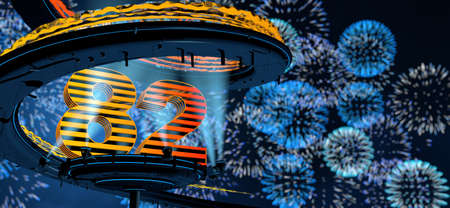 Number 82 formed by a yellow structure on a round metal platform illuminated by 8 reflectors surrounded by a metal spiral structure with a background of blue fireworks in the night sky. 3D Illustration