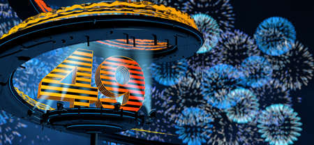 Number 49 formed by a yellow structure on a round metal platform illuminated by 8 reflectors surrounded by a metal spiral structure with a background of blue fireworks in the night sky. 3D Illustration Stock Photo