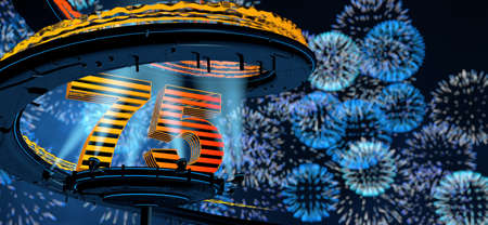 Number 75 formed by a yellow structure on a round metal platform illuminated by 8 reflectors surrounded by a metal spiral structure with a background of blue fireworks in the night sky. 3D Illustration