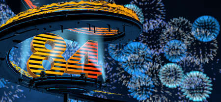 Number 84 formed by a yellow structure on a round metal platform illuminated by 8 reflectors surrounded by a metal spiral structure with a background of blue fireworks in the night sky. 3D Illustration