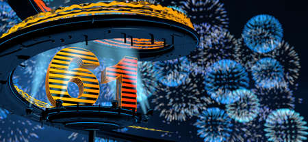 Number 61 formed by a yellow structure on a round metal platform illuminated by 8 reflectors surrounded by a metal spiral structure with a background of blue fireworks in the night sky. 3D Illustration