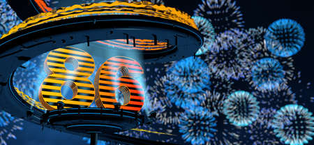 Number 86 formed by a yellow structure on a round metal platform illuminated by 8 reflectors surrounded by a metal spiral structure with a background of blue fireworks in the night sky. 3D Illustration Stock Photo
