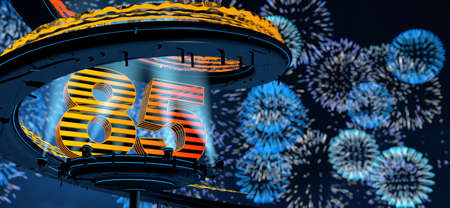 Number 85 formed by a yellow structure on a round metal platform illuminated by 8 reflectors surrounded by a metal spiral structure with a background of blue fireworks in the night sky. 3D Illustration