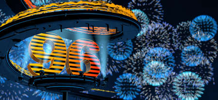 Number 96 formed by a yellow structure on a round metal platform illuminated by reflectors surrounded by a metal spiral structure with background of blue fireworks in the night sky. 3D Illustration Stock Photo