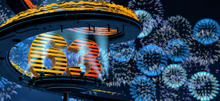Number 63 formed by a yellow structure on a round metal platform illuminated by 8 reflectors surrounded by a metal spiral structure with a background of blue fireworks in the night sky. 3D Illustration