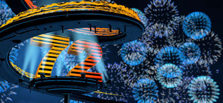 Number 72 formed by a yellow structure on a round metal platform illuminated by 8 reflectors surrounded by a metal spiral structure with a background of blue fireworks in the night sky. 3D Illustration Stock Photo
