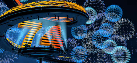 Number 74 formed by a yellow structure on a round metal platform illuminated by 8 reflectors surrounded by a metal spiral structure with a background of blue fireworks in the night sky. 3D Illustration