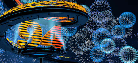 Number 94 formed by a yellow structure on a round metal platform illuminated by 8 reflectors surrounded by a metal spiral structure with background of blue fireworks in the night sky. 3D Illustration Stock Photo